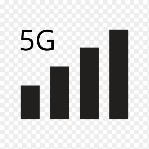5G internet vector icons. Wireless signal technology on transparent background PNG