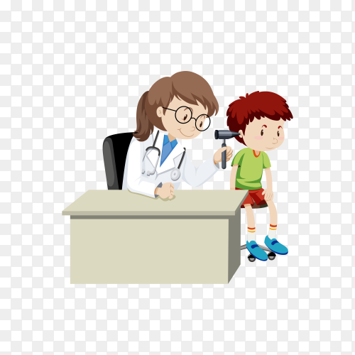 A Boy Checking Ears with Doctor illustration on transparent background PNG