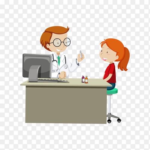 A Doctor Giving Prescribe Medicine illustration on transparent background PNG