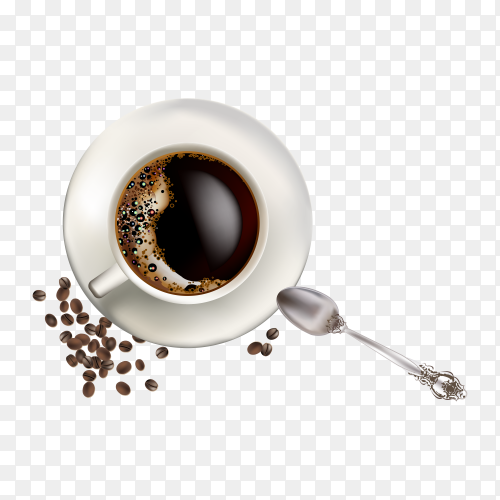 A cup of coffee with coffee beans on transparent background PNG