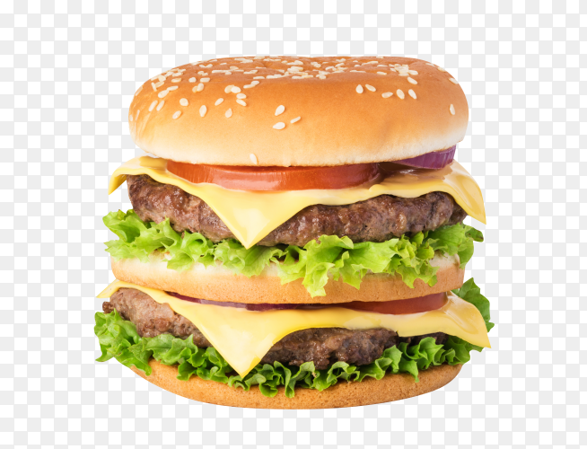 American hamburger isolated on transparent background PNG