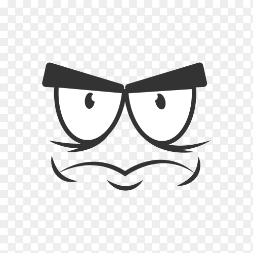 Angry expression isolated on transparent background PNG