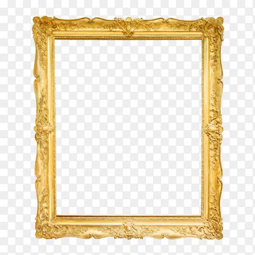 Antique golden frame isolated on transparent background PNG