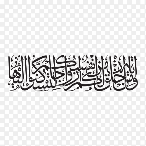 Arabic calligraphy of text (And among His signs is that He created mates for you from among yourselves, that you may find repose in them ) on transparent background PNG