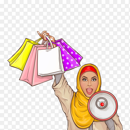 Arabic woman in hijab with loud speaker and shopping bags cartoon illustration on transparent background PNG