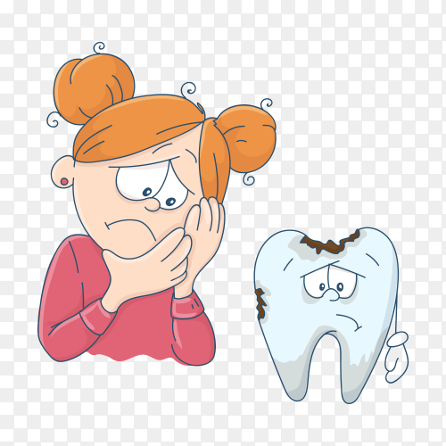 Art on the topic of children's dentistry. Cute cartoon girl and a bad tooth on transparent background PNG