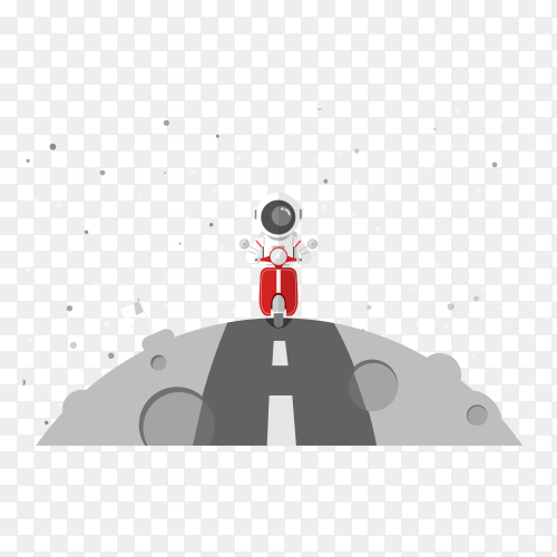 Astronaut driving red motorcycle at the moon on transparent background PNG