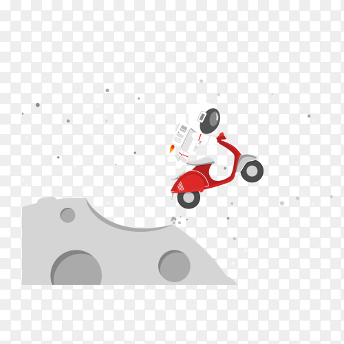 Astronaut driving red motorcycle drifting out into space on transparent background PNG