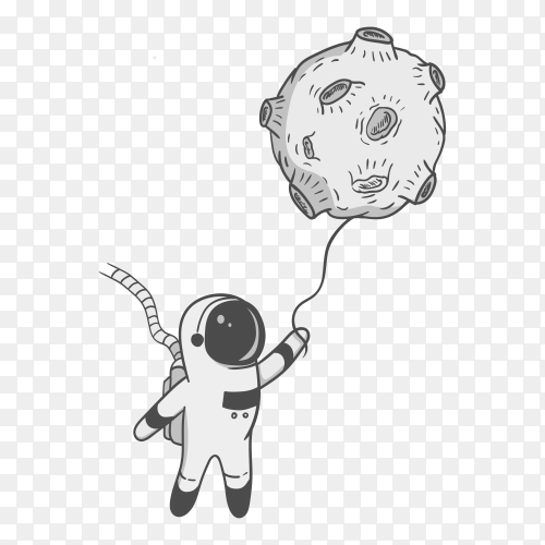 Astronaut holding a balloon shaped as moon on transparent background PNG