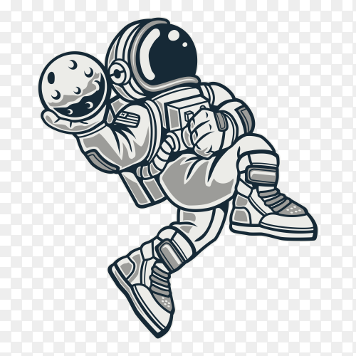 Astronaut holding ball on space illustration design on transparent background PNG