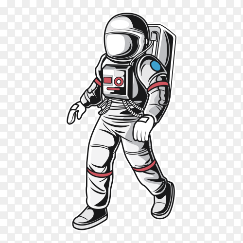 Astronaut in spacesuit illustration on transparent background PNG