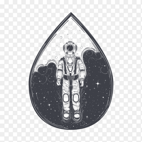 Astronaut with suit and helmet on transparent background PNG