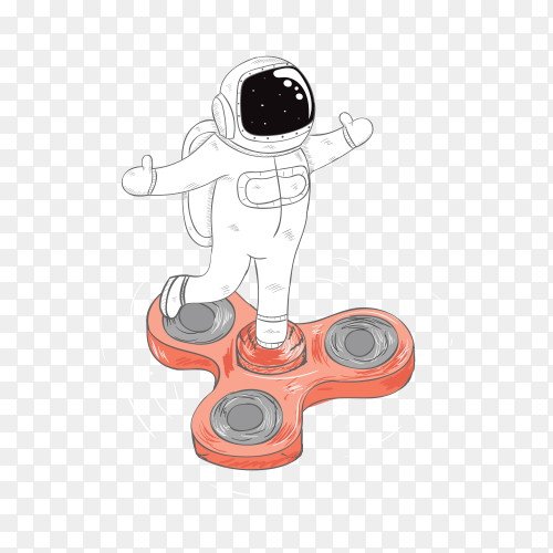 Astronauts and spinner cartoon hand drawn on transparent background PNG