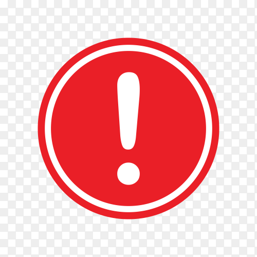 Attention sign icon. Warning icon on transparent background PNG