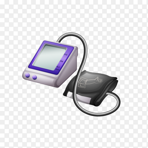 Automatic blood pressure monitor on transparent background PNG