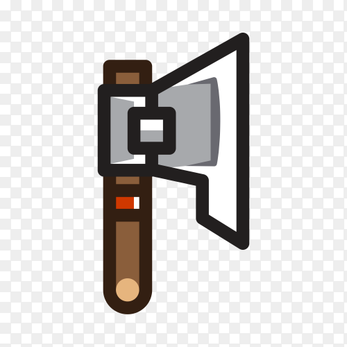 Axe for creating video game hand drawn on transparent PNG