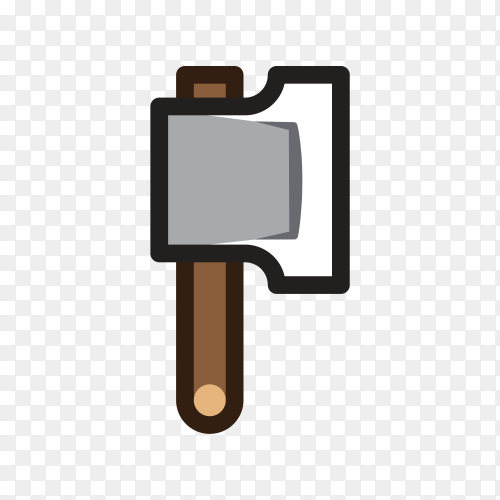 Axe for creating video game illustration on transparent PNG