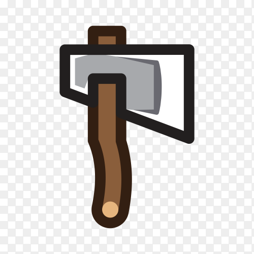 Axe for creating video game illustration on transparent background PNG