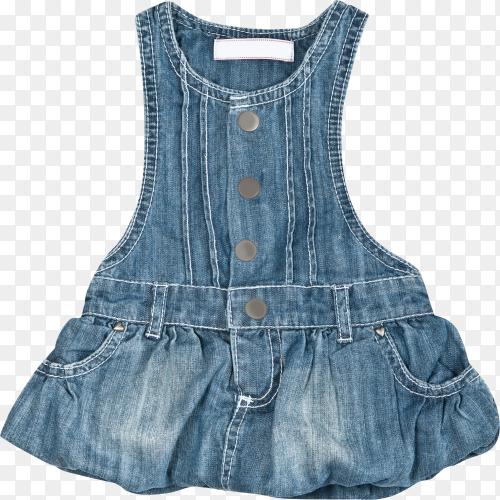 Baby blue denim dress on transparent background PNG