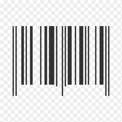 Barcode. Supermarket scan code bar and qr code, industrial barcode price black label realistic isolated on transparent background PNG