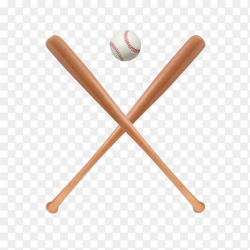 Baseball and baseball bat isolated on transparent background PNG