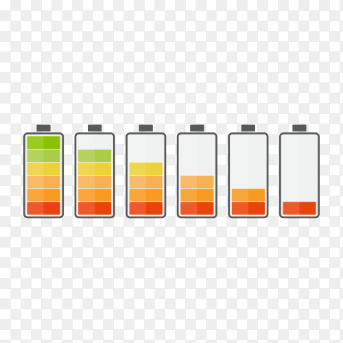 Battery with different level of charge on transparent background PNG