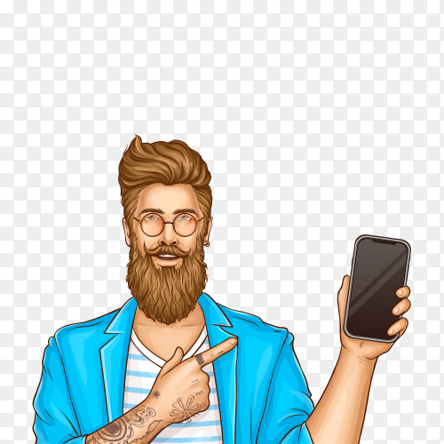 Bearded hipster with tattoos point on smartphone on transparent background PNG