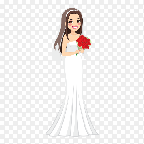 Beautiful Bride in white dress with bouquet on transparent background PNG