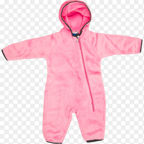 Beautiful pink Baby clothes for winter time on transparent background PNG