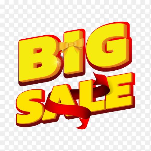 Big sale text on transparent background PNG