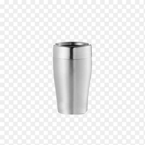 Big steel cup on transparent background PNG