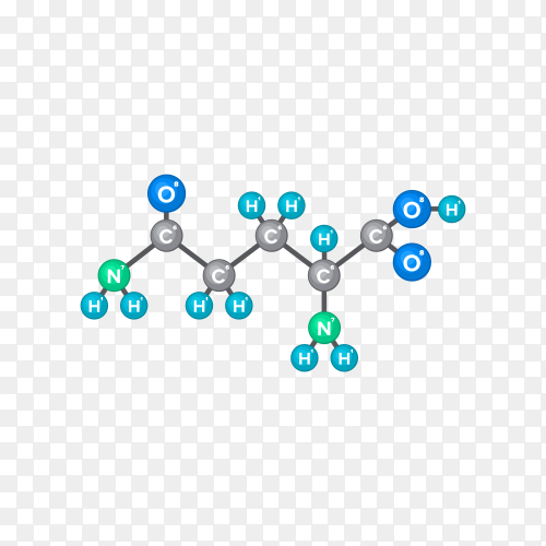 Bitmap Molecular structure of chemical substance on transparent PNG