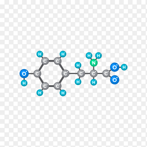 Bitmap Molecular structure of chemical substance on transparent background PNG