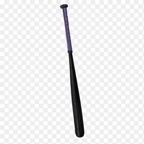 Black baseball bat isolated on transparent background PNG