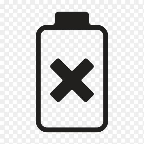 Black battery icon design on transparent background PNG