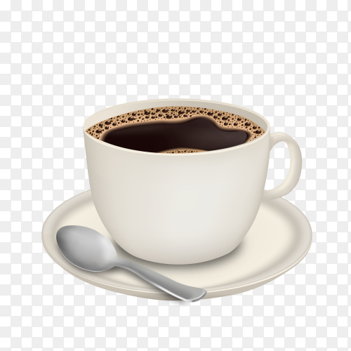 Black coffee in white cup isolated on transparent background PNG