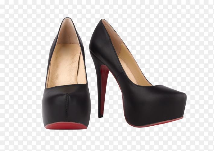 Black female high-heeled shoes on transparent background PNG