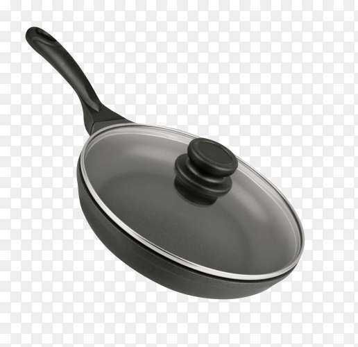 Black frying pan isolated on transparent background PNG