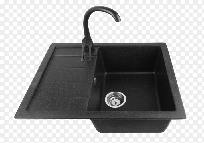 Black kitchen sink with tap on transparent background PNG