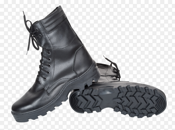 Black leather army boots on transparent background PNG