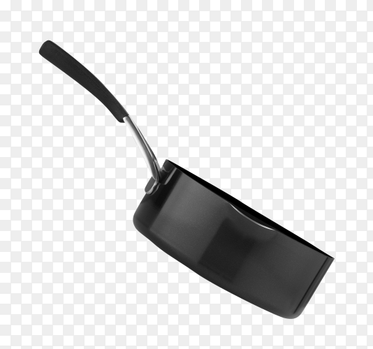Black pan for frying on transparent background PNG