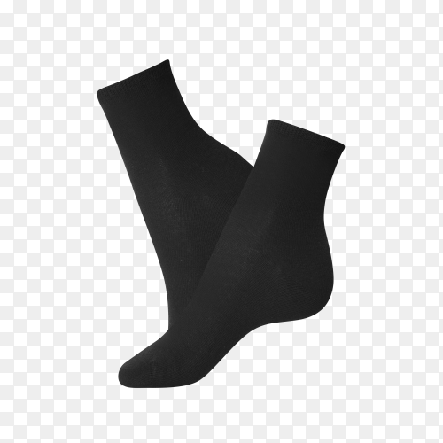 Black socks for clothing isolated on transparent PNG