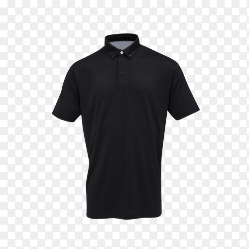 Black t-shirt for man on transparent background PNG