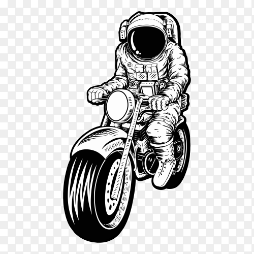 Black white astronaut riding motorcycle on transparent background PNG