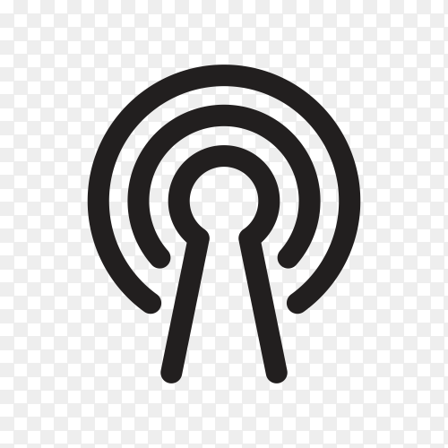 Black WiFi signal symbol on transparent background PNG