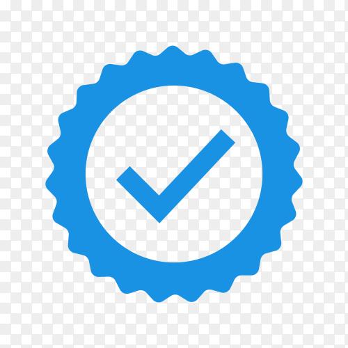 Blue flat star shape sticker check mark on transparent background PNG