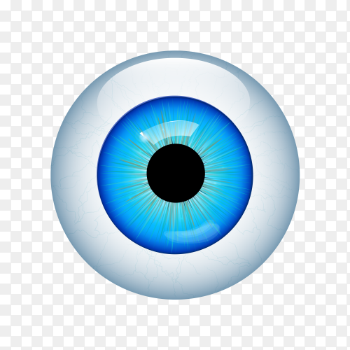 Blue human eye macro over on transparent background PNG