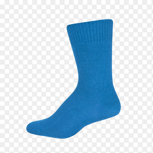Blue sock isolated on transparent background PNG