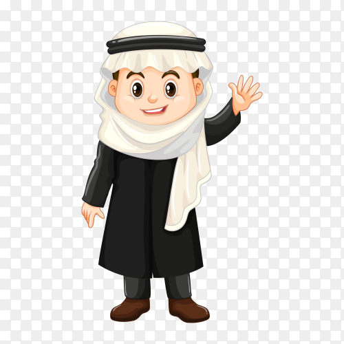 Boy in Kuwait costume on transparent background PNG