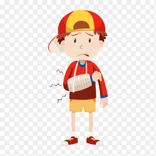 Boy with broken Arm on transparent background PNG